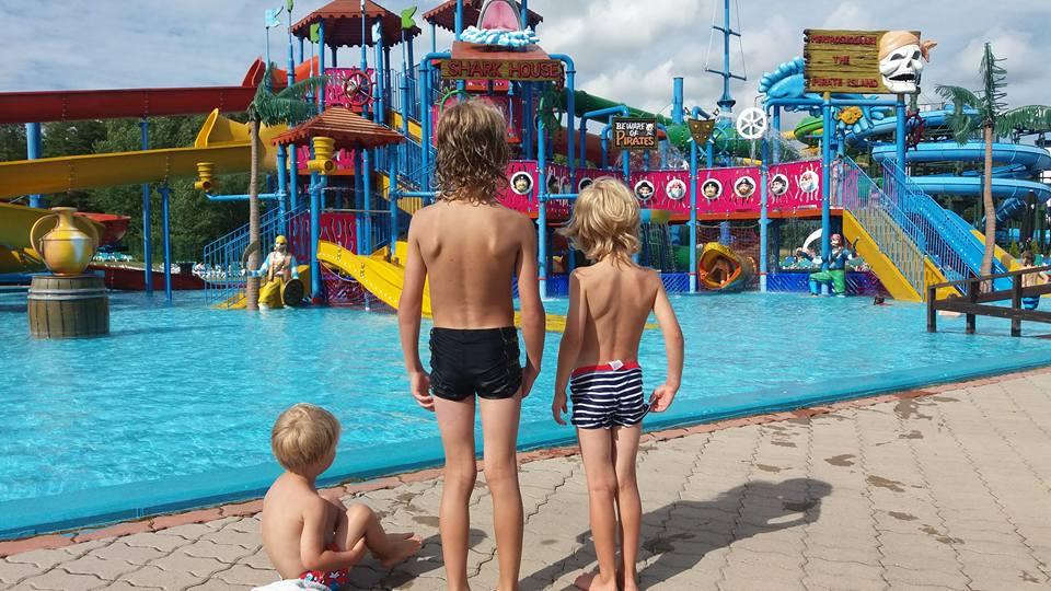 pojat katsovat uima-allasta