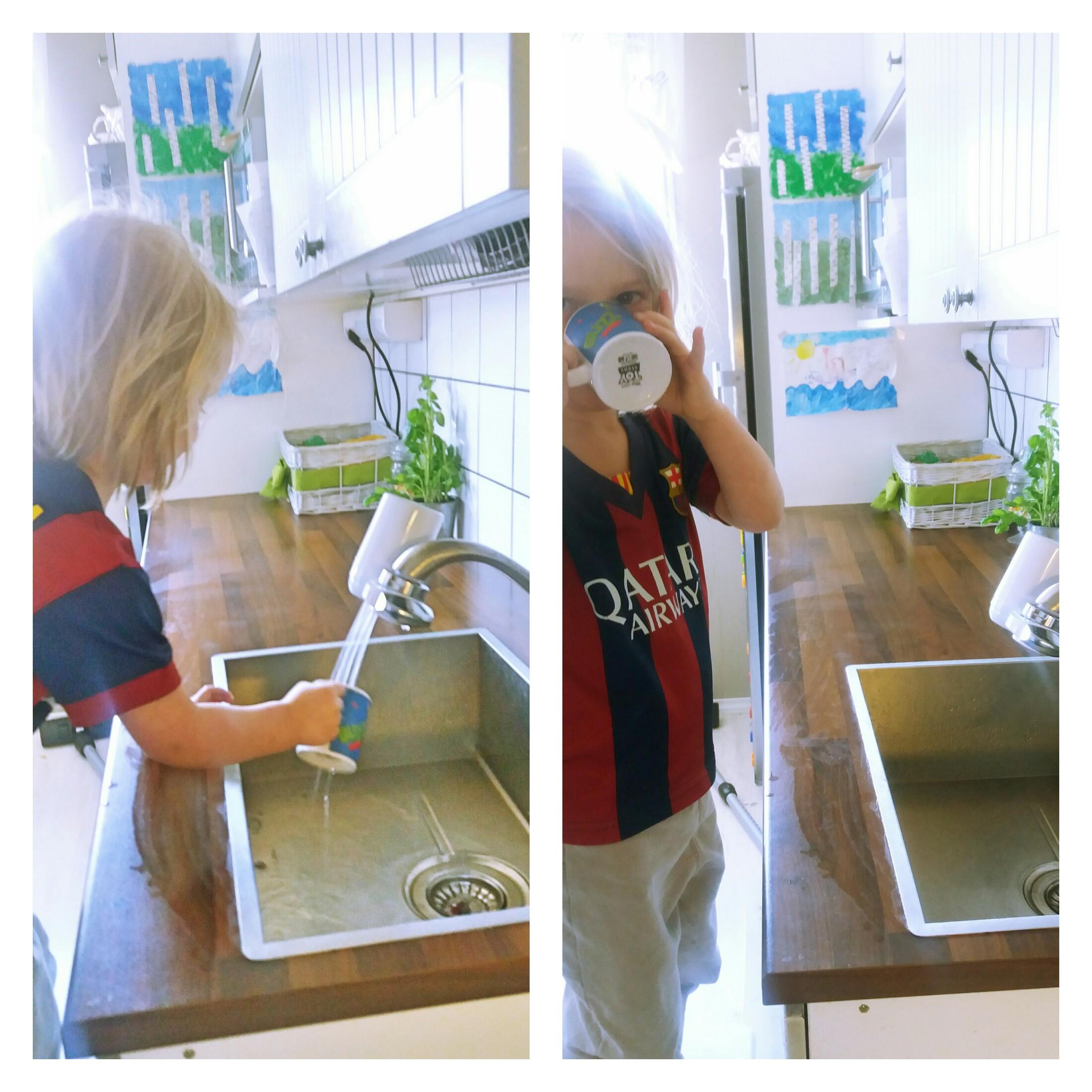 Poika juo vettä